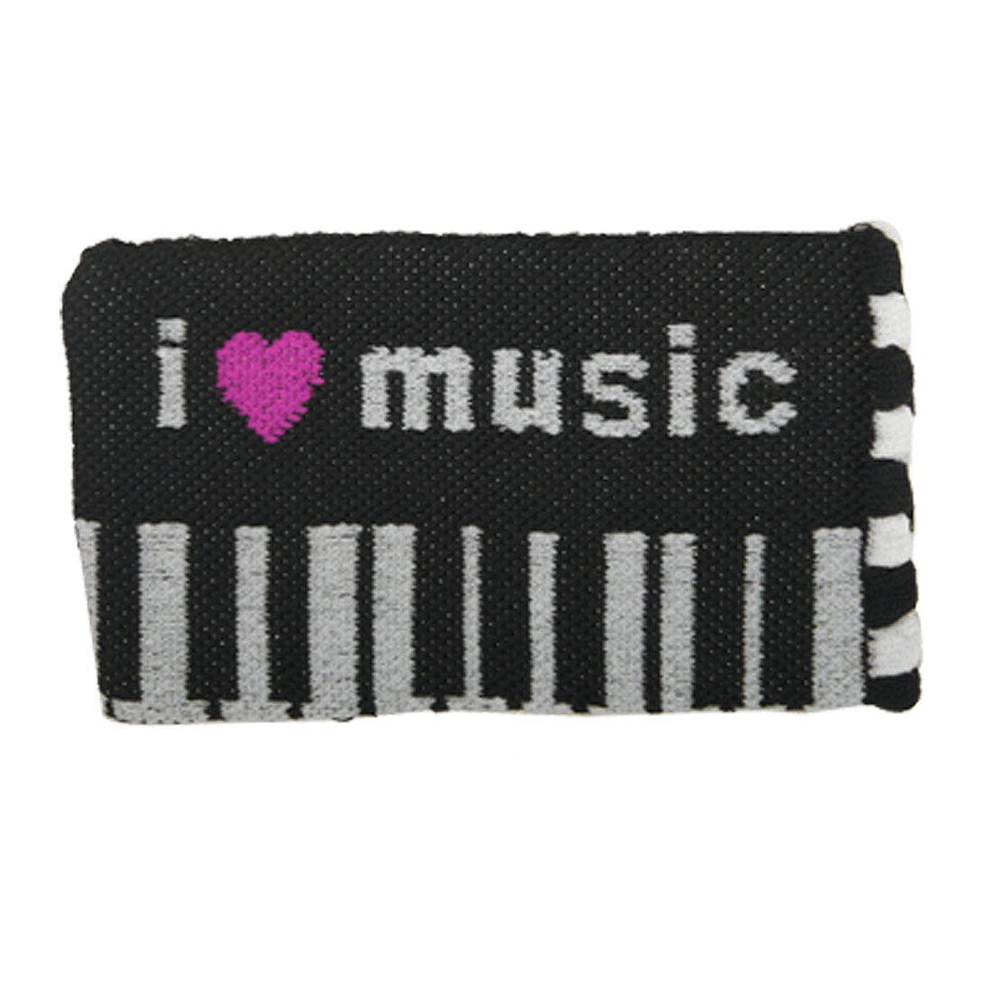 I Love Music Design Knitted Elastic Pouch Bag for Cell Phone Mp4