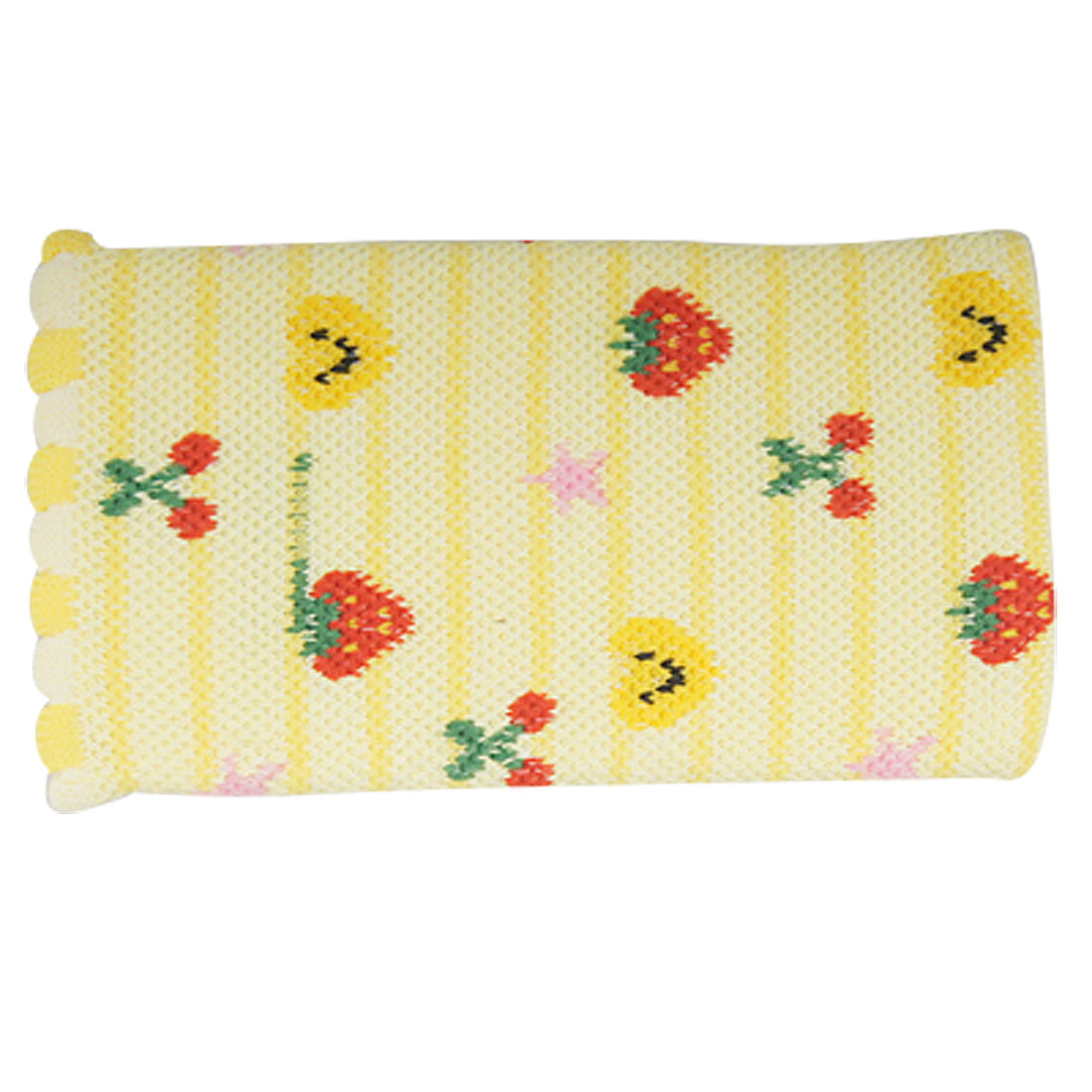 Phone Scallop Cuff Heart Star Strawberry Prints Elastic Pouch Bag Yellow