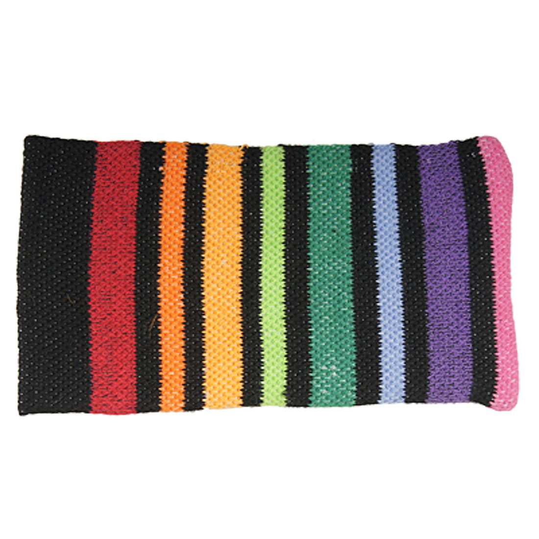 Black Cuffs Multi Color Stripes Knitted Elastic Pouch for Cell Phone