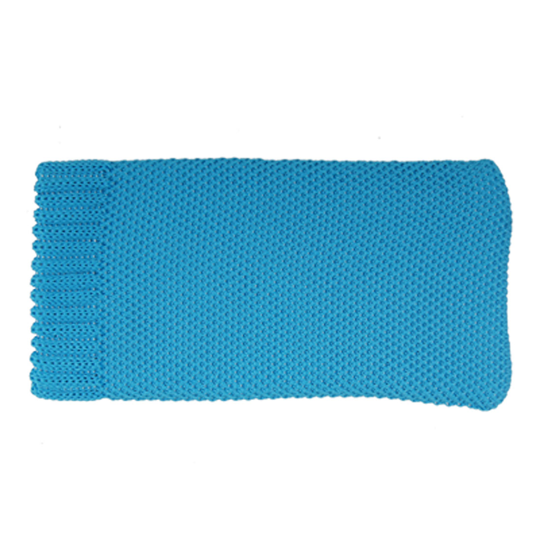 Sky Blue Ribbed Cuffs Knitted Elastic Pouch Bag Case for Cell Phone
