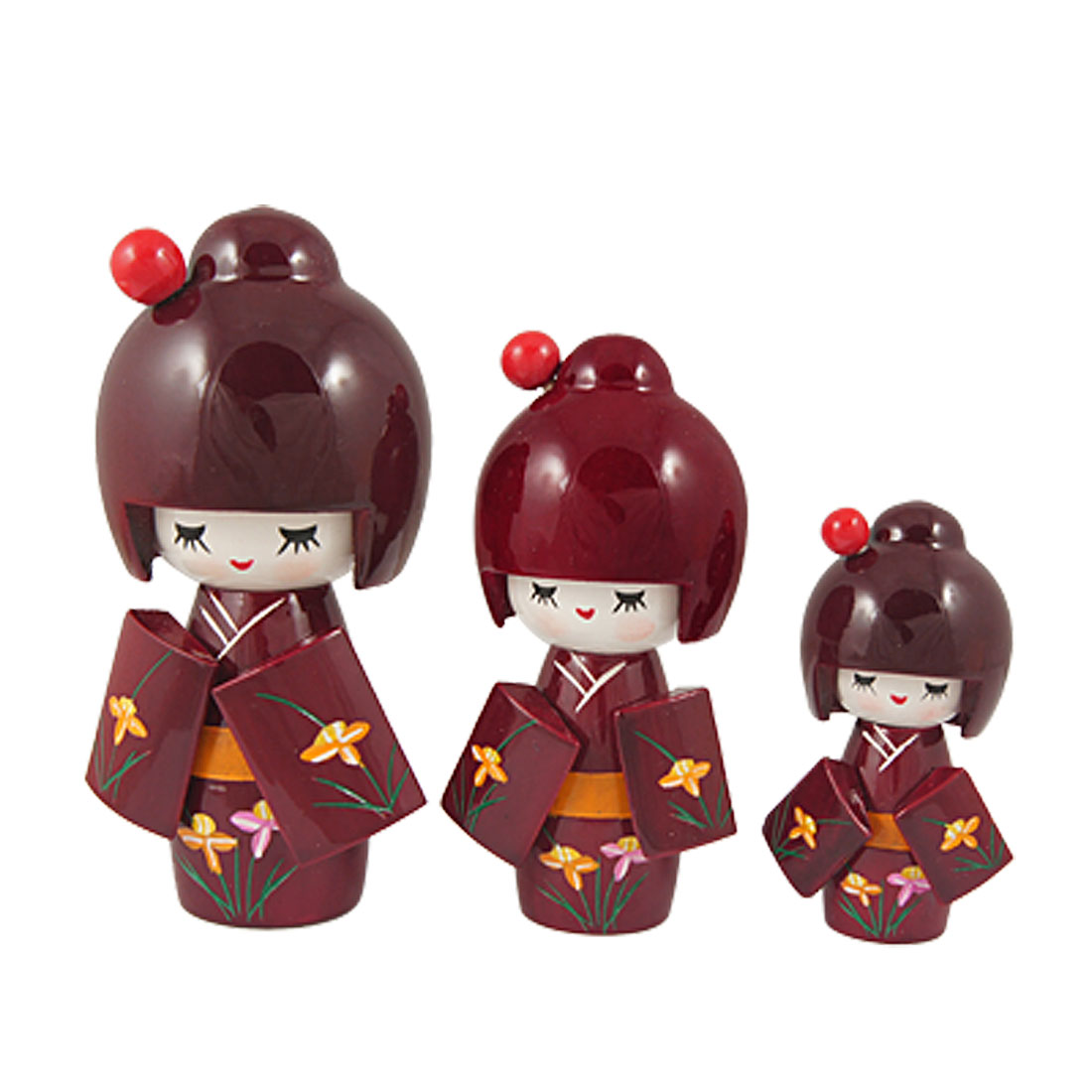 3 Pcs Maroon Hair Kimono Shyly Smiling Girl Kokeshi Doll Wooded Toy