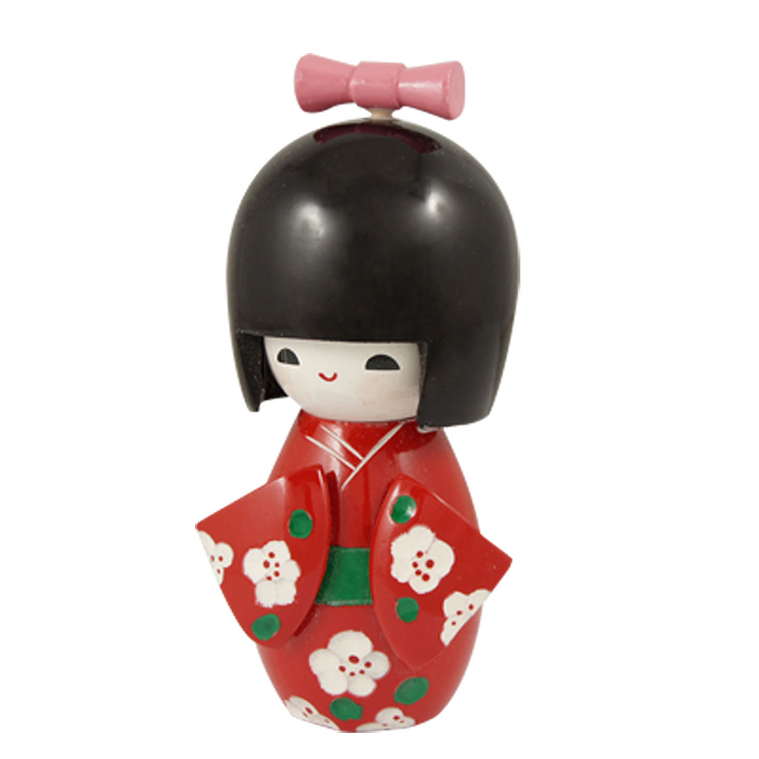Pink Bow Tie Floral Red Kimono Wooden Japanese Kokeshi Doll