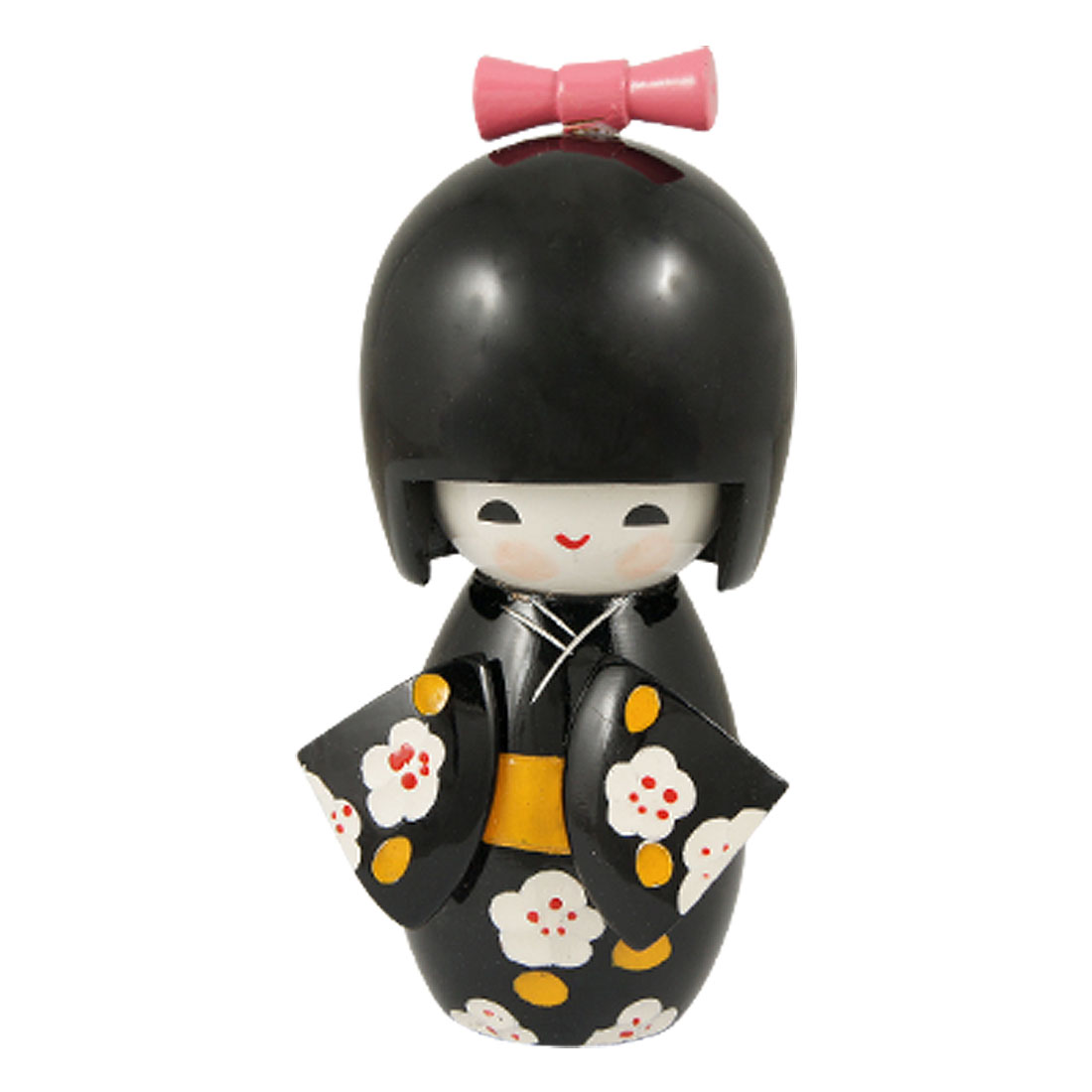 Desk Decoration Engraved Flower Pattern Black Kimono Kokeshi Doll