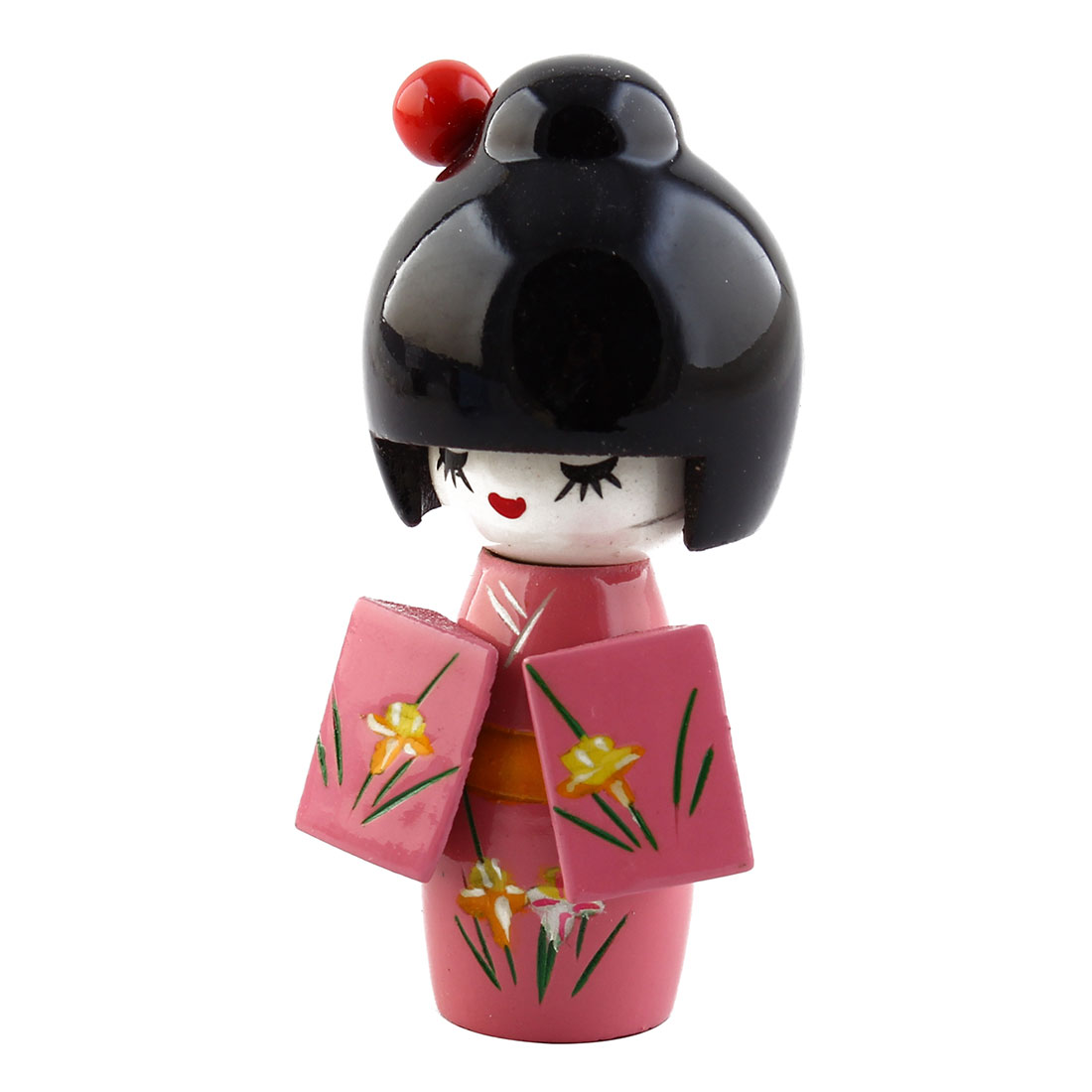 Red Hairpin Shyly Smiling Girl Japanese Kimono Kokeshi Doll Wooded Toy Desk Decoration
