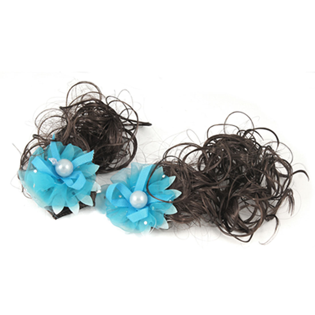 Girls Brown Curly Wig Fall Blue Chiffon Flower Hair Clip Hairpieces 2 Pcs