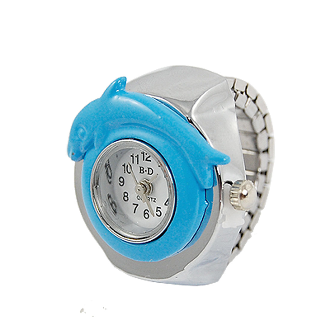 Lady Blue Dolphin Decor Case Finger Ring Quartz Watch