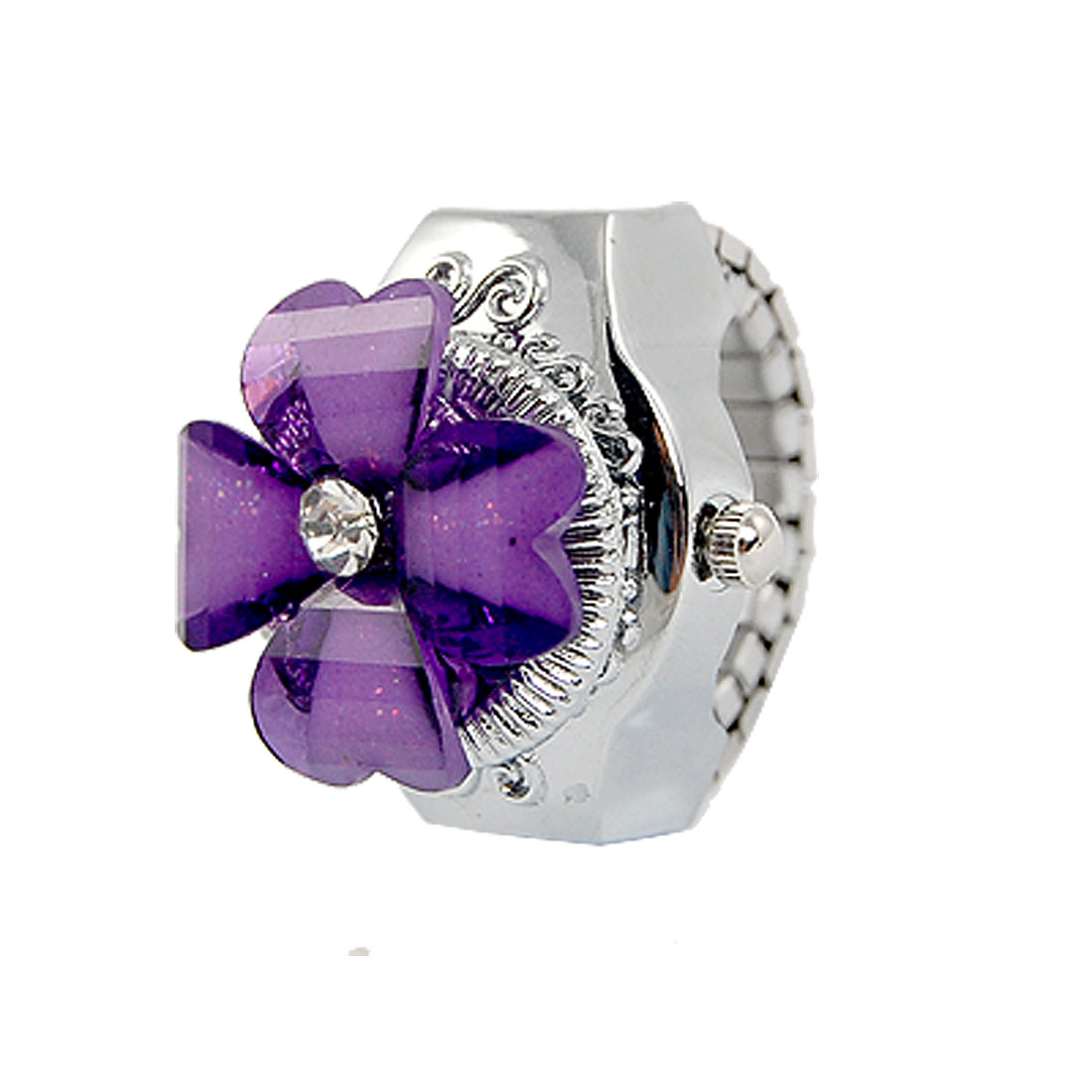 Lady Rhinestone Detail Clover Hunter Case Stretch Band Finger Ring Watch Purple