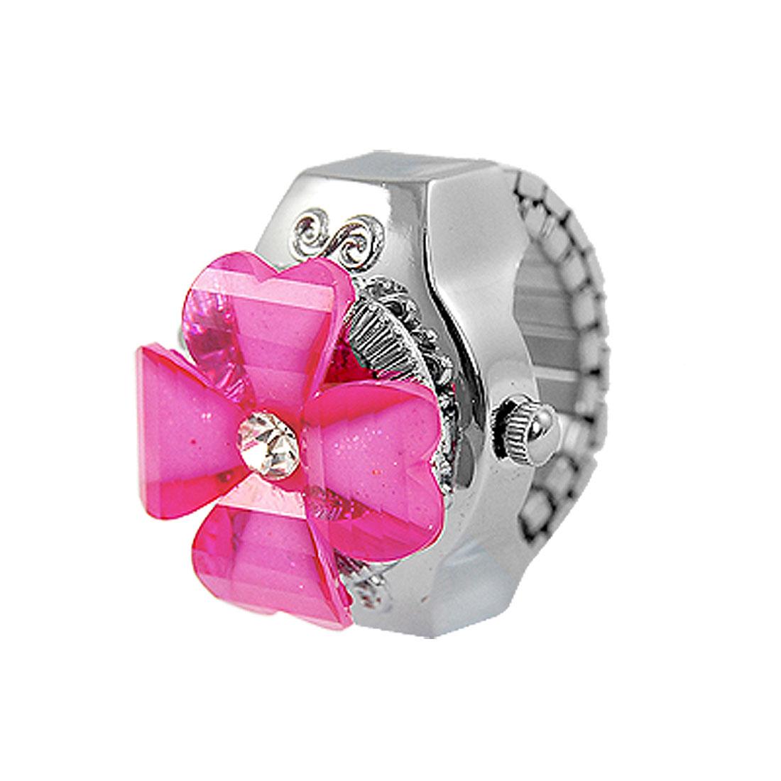 Lady Rose Pink Clover Hunter Case Stretchy Band Finger Ring Quartz Watch