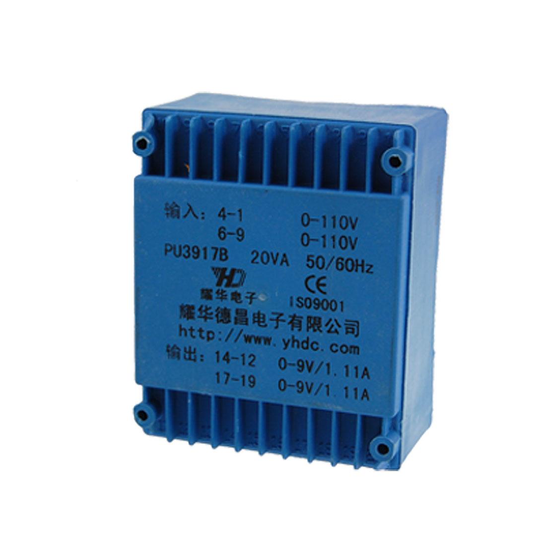 AC 110V Epoxy Resin Embedding Double Phase PCB Soldering Transformer