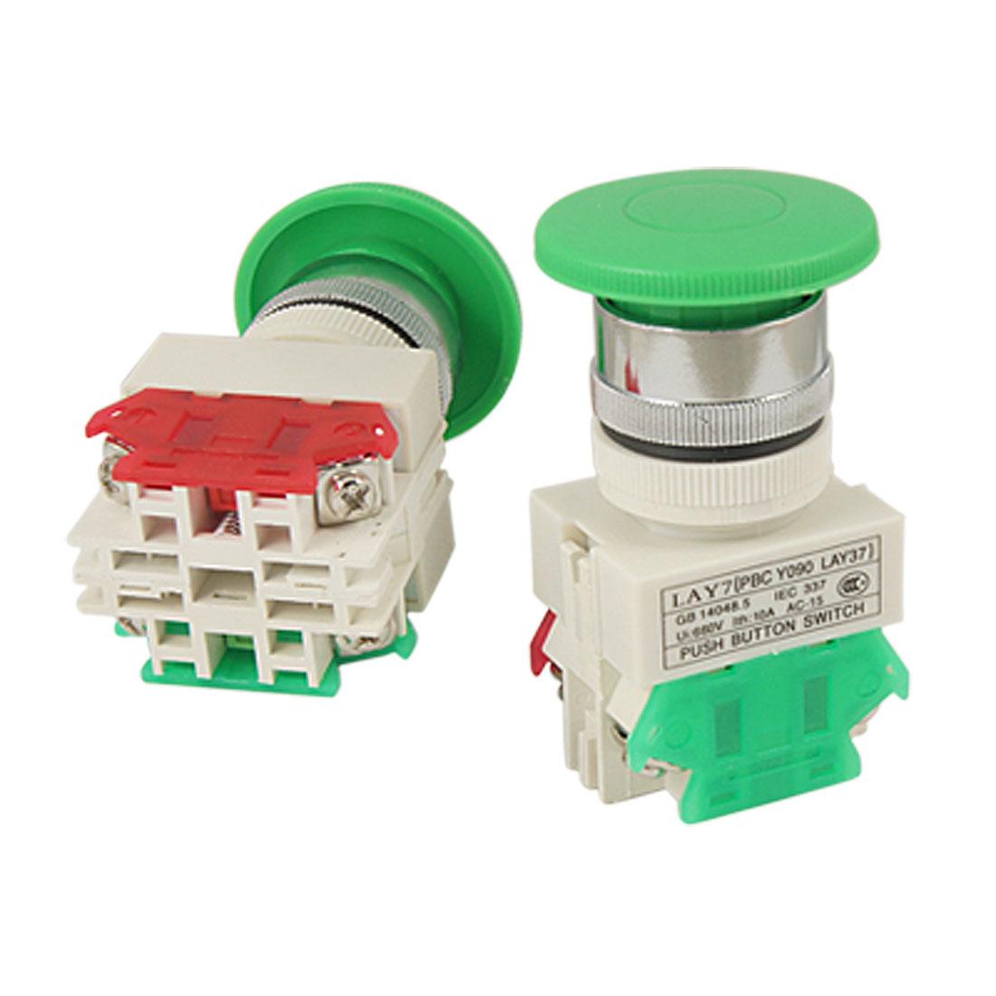 2 Pcs x AC 660V 10A Green Sign Momentary Mushroom Push Button Switch 1 N/O 1 N/C