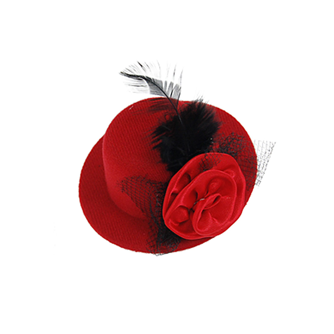 Black Feather Decor Flannel Red Mini Top Cap Hair Clip for Lady