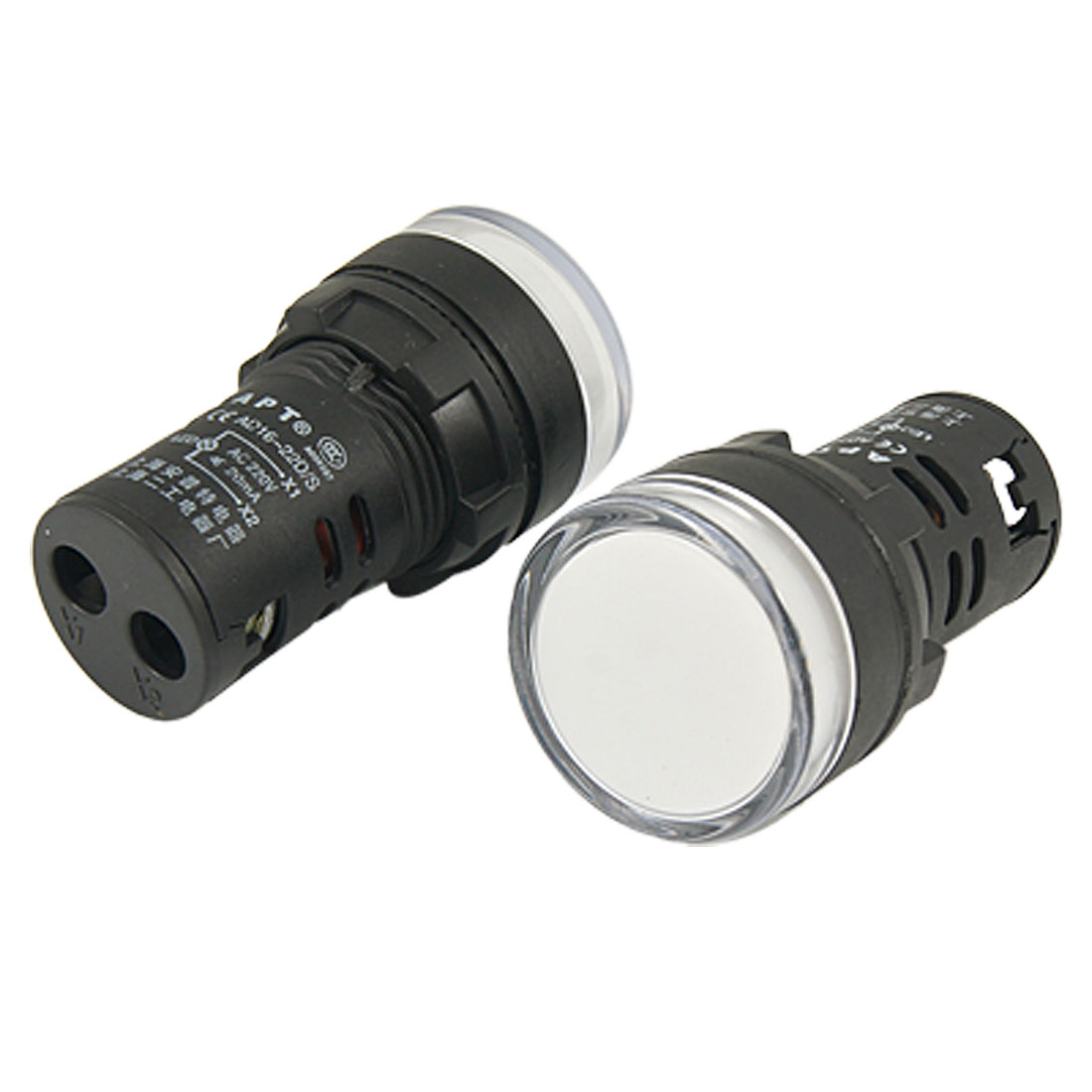 2 Pcs AC 220V White LED Light Signal Indicator for Electrical Circuit