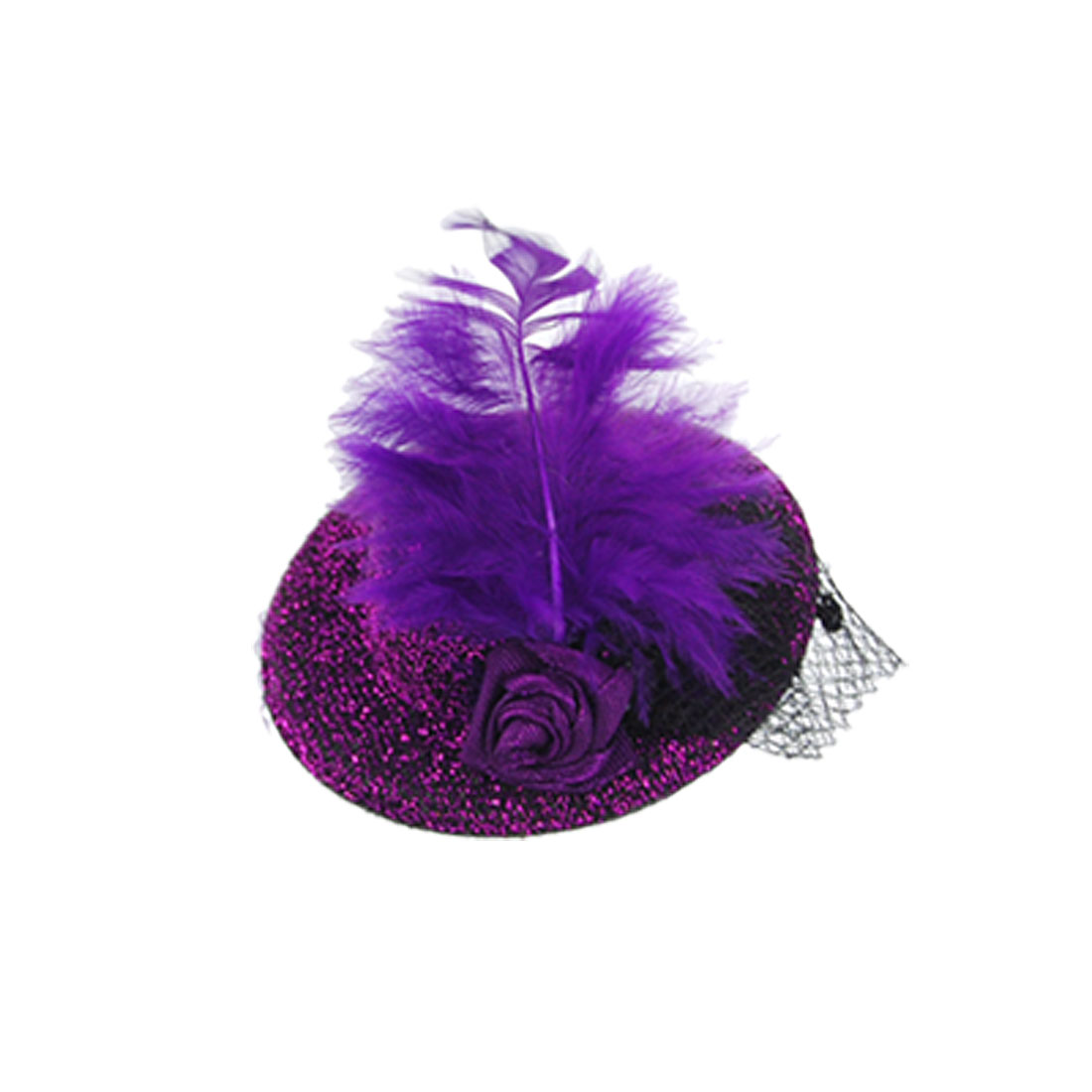 Purple Feather Flower Decor Flannel Mini Top Hat Hairclip