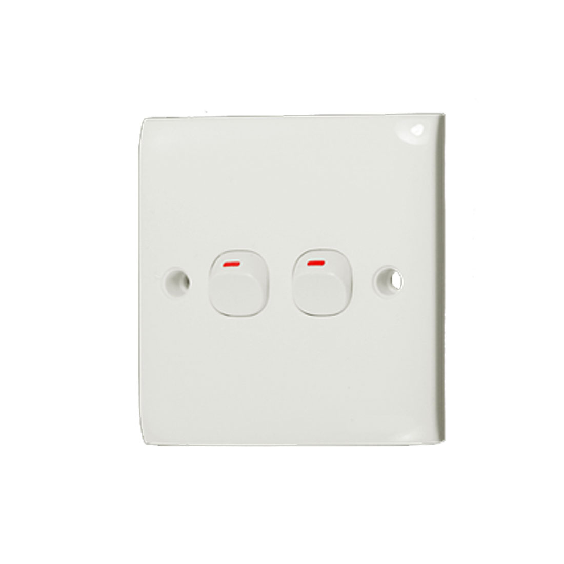 White 10A 250V Button 2 Gang On/Off Wall Plate Light Switch