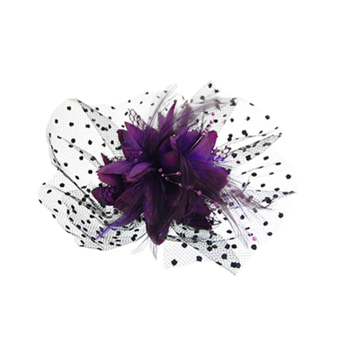 Dotted Mesh Purple Feather Decor Fabric Corsage Cocktail Hair Clip