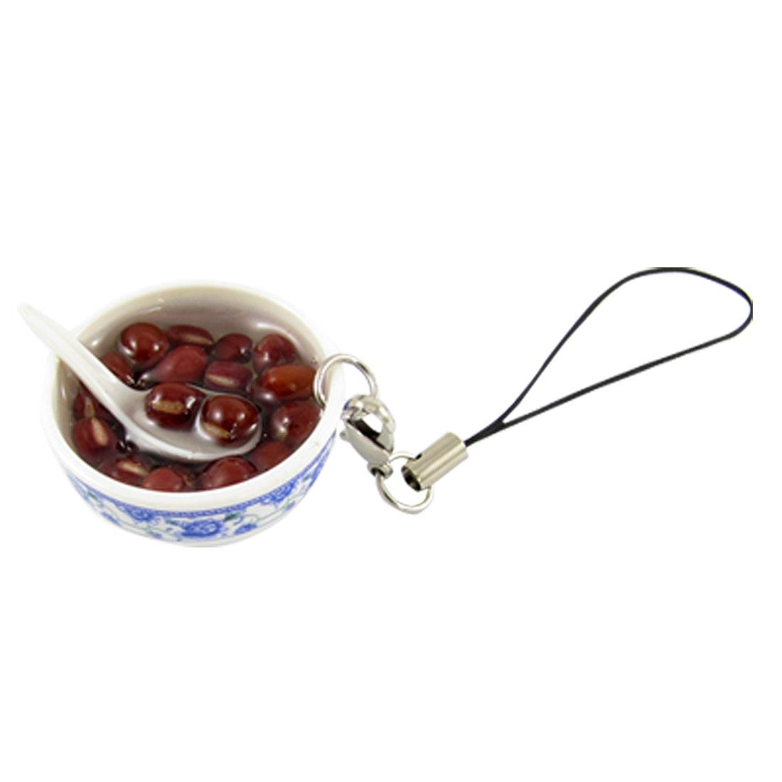 Adzuki Bean Soup White Plastic Bowl Shape Pendant Keyring Keychain