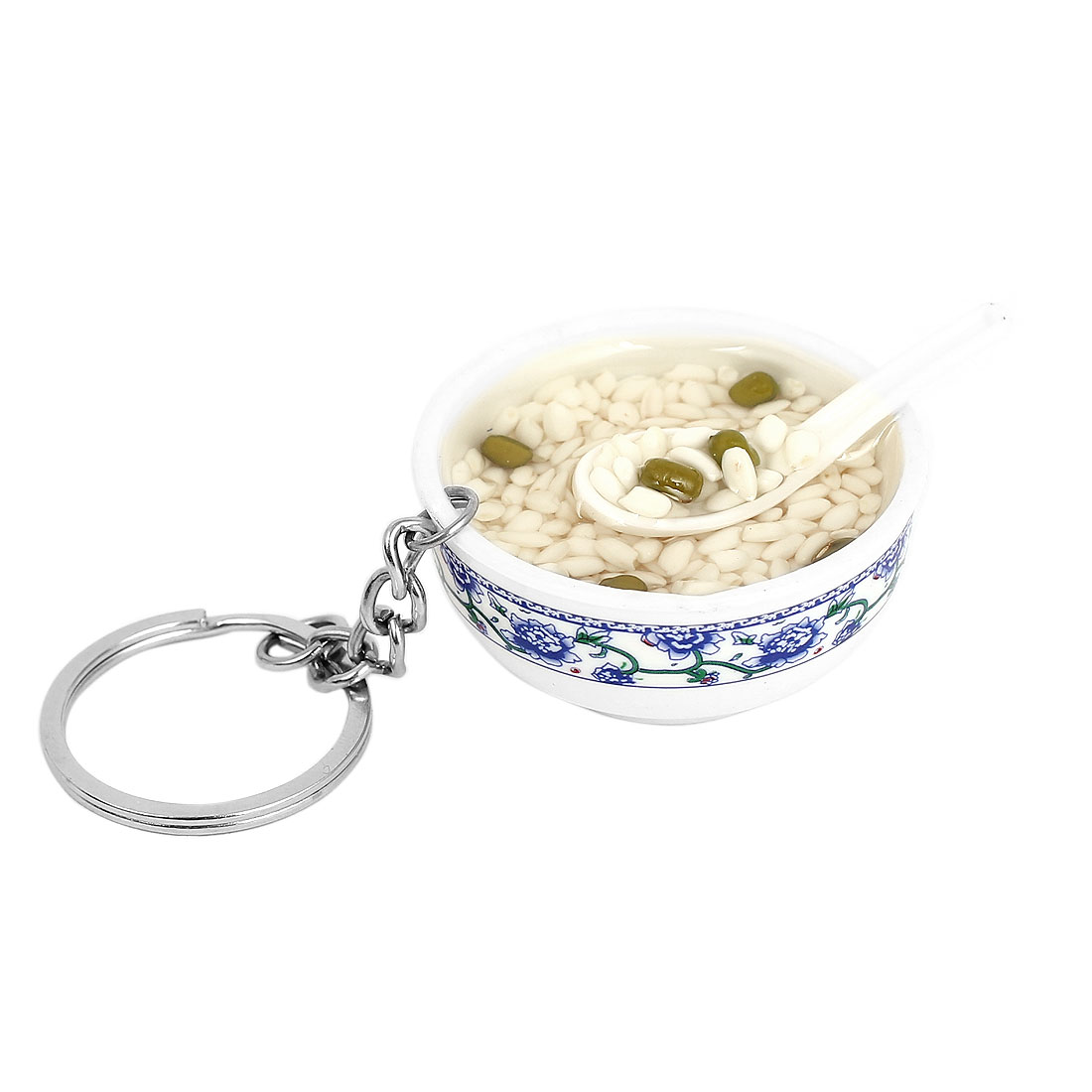 Mung Bean Rice Soup Plastic Spoon Bowl Shape Keyring Keychain