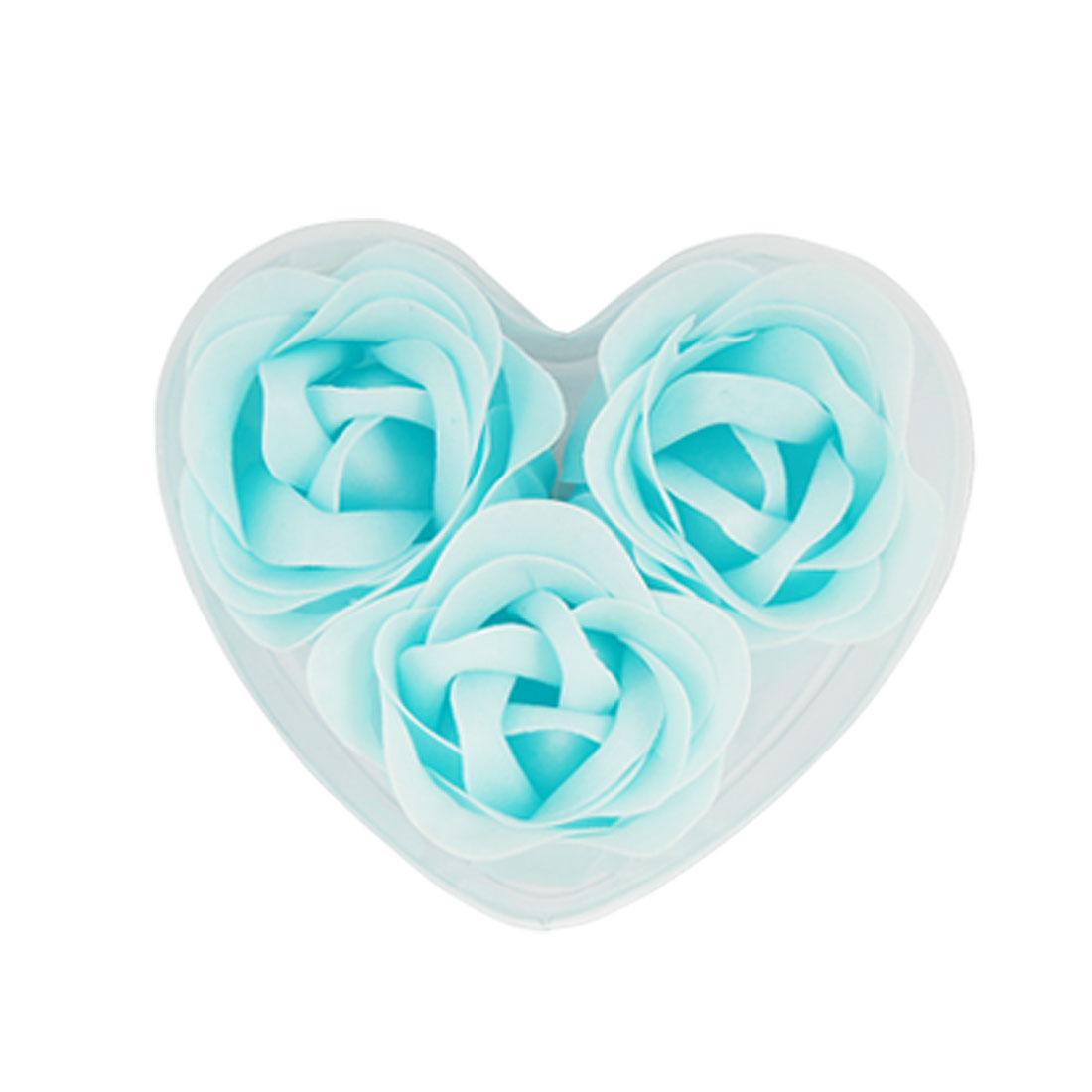 3 Pcs Rose Shaped Baby Blue Bath Soap Petals w Heart Package Box