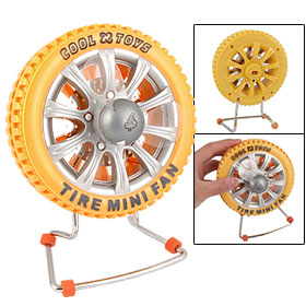 DC 5V Yellow Tire Shape USB Cooler Computer Fan w Metal Stand