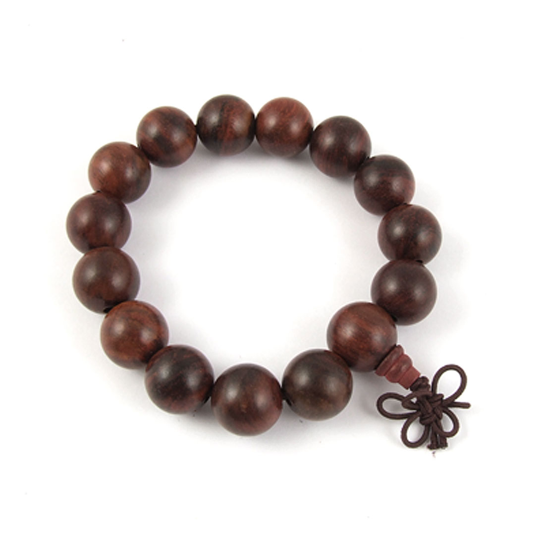 Buddhist Brown Wooden Beads Elastic Wrist Bracelet