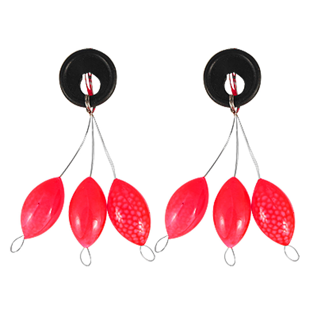 2 Pcs Fishing Tackle Red Oval Plastic Floater Bobber Stopper
