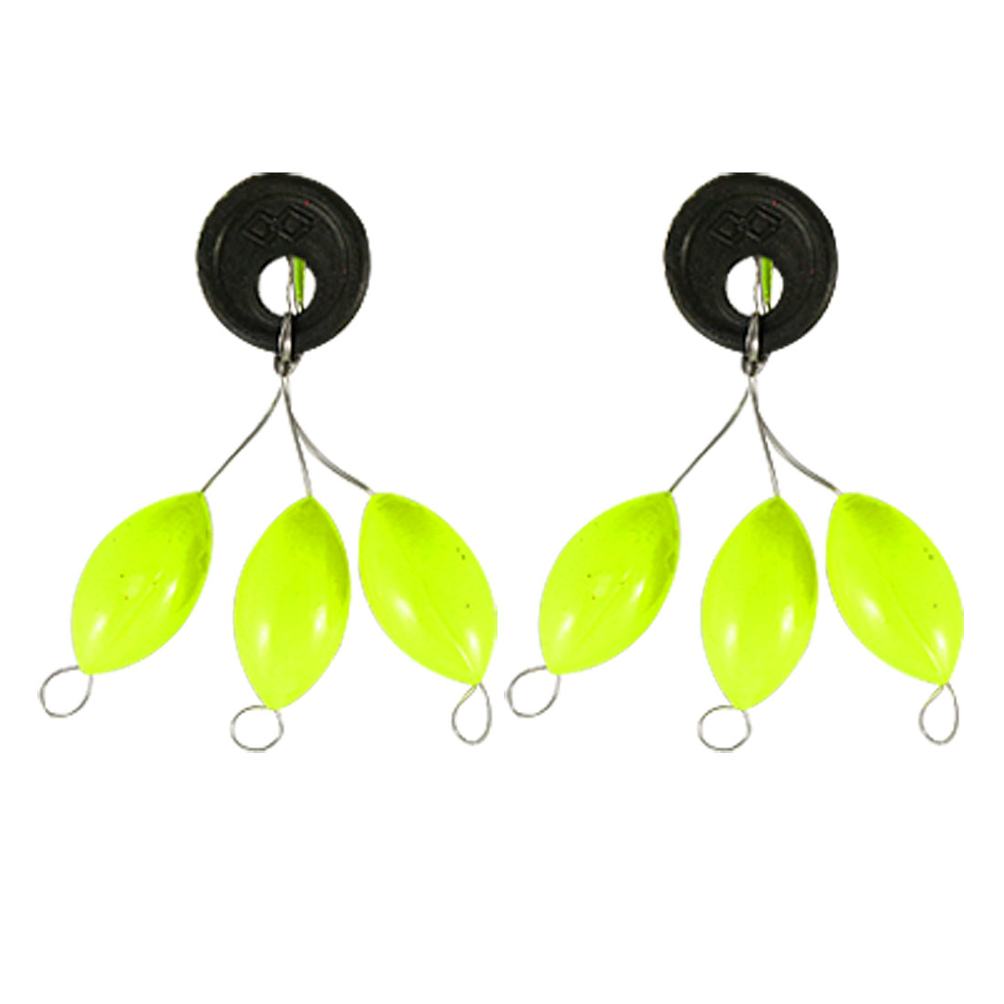 2 Pcs Fishing Tackle Yellow Green Plastic Floater Bobber Stopper