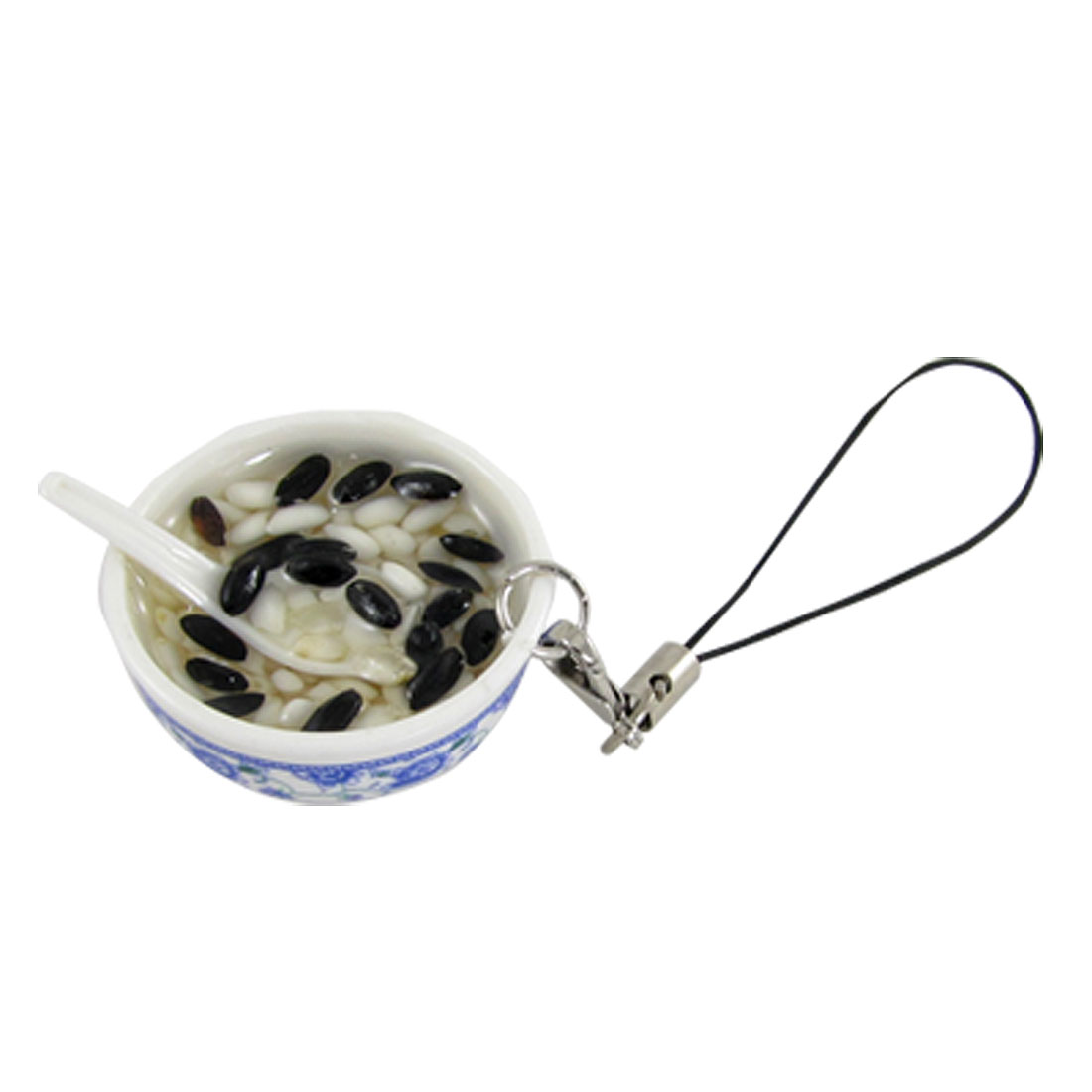 Black White Rice Soup Bowl Shape Pendant Decor for Cell Phone