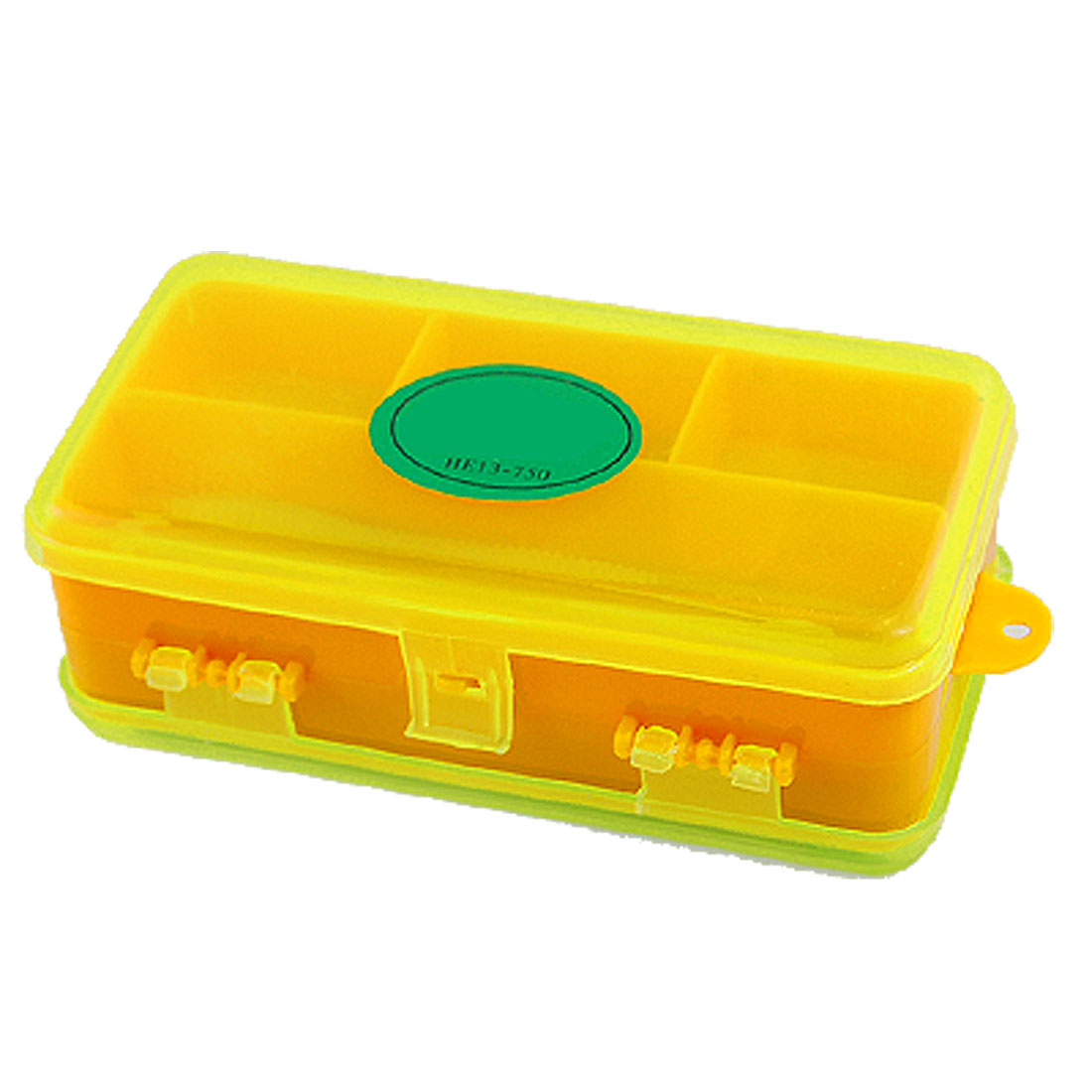 Green Orange Plastic Double Sides Fishing Tackle Box Case