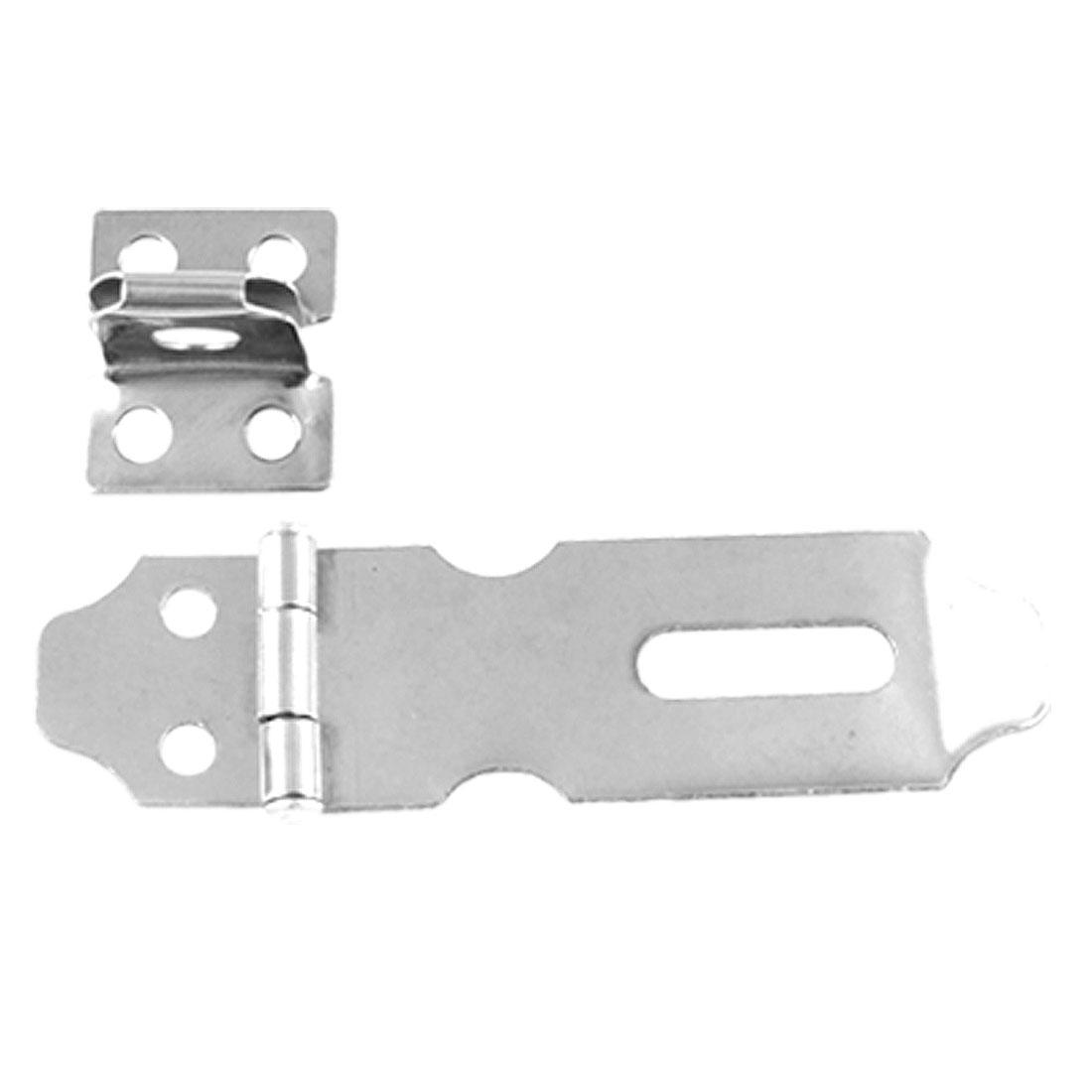 Silver Tone Metal Hasp Staple 5 Pcs for Door Cabinet