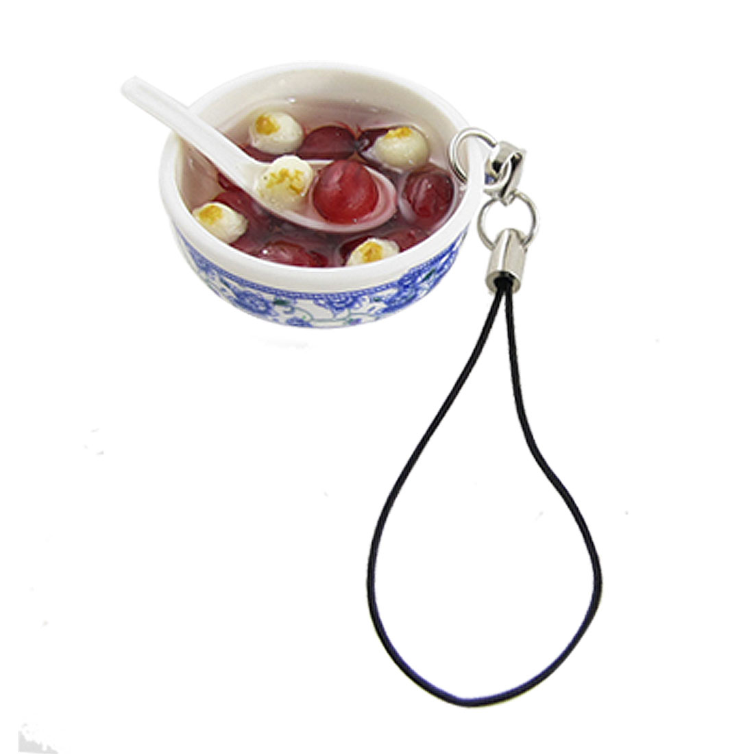 White Blue Plastic Bowl Food Pendant Phone Strap Decoration