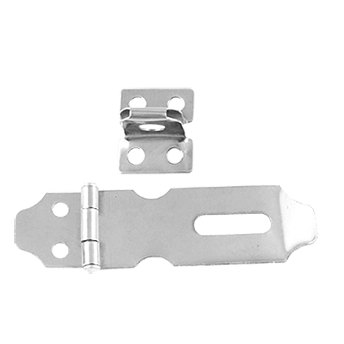 Cabinet Door Padlock Silver Tone Hasp Staple 5 Set