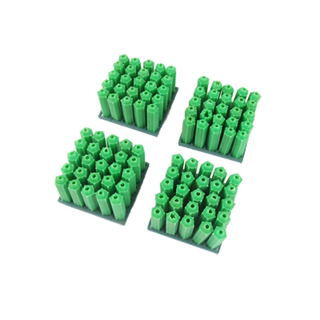 100 Pcs Green 8mm Plastic Screw Fixing Wall Connector Tool