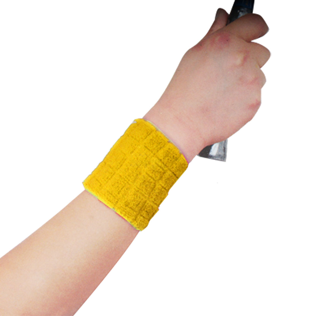 Pair Sports Elastic Wrist Band Support Brace Yellow