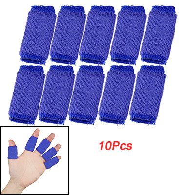 10 Pcs Blue Elastic Sports Hand Finger Protector Sleeve