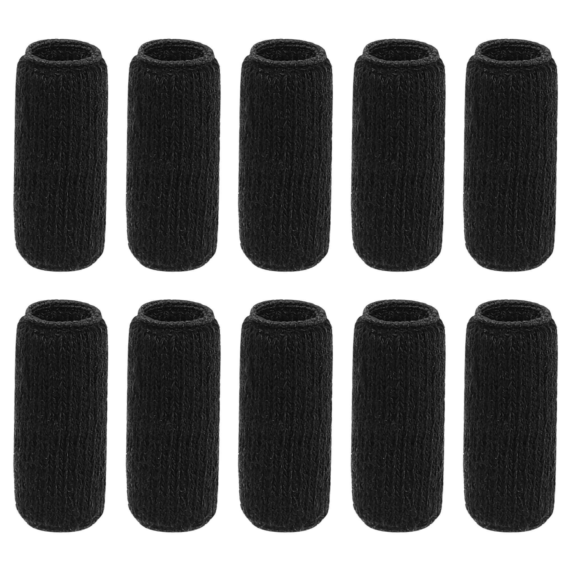 10 Pcs Black Sports Elastic Hand Finger Sleeve Protector