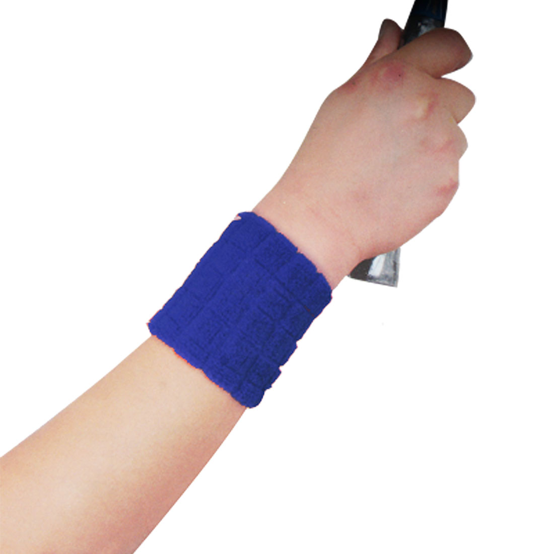 2 Pcs Blue Sports Stretchy Terry Wrist Band Protector