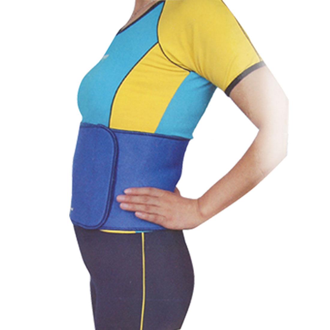 Blue Neoprene Elastic Waist Abdomen Brace Support One Size