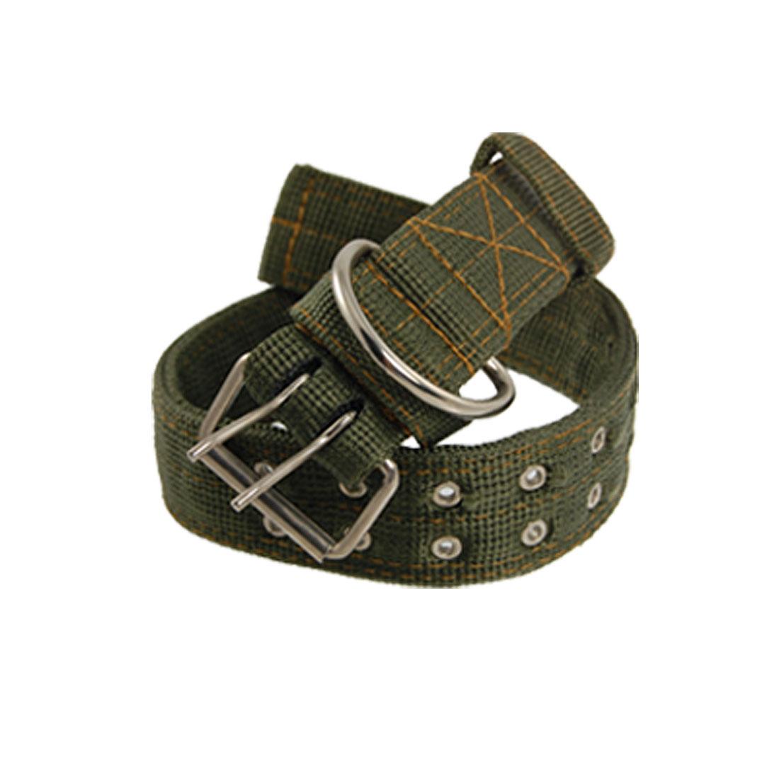 Dual Pin Buckle Army Green Nylon Fabric Pet Dog Leash Collar
