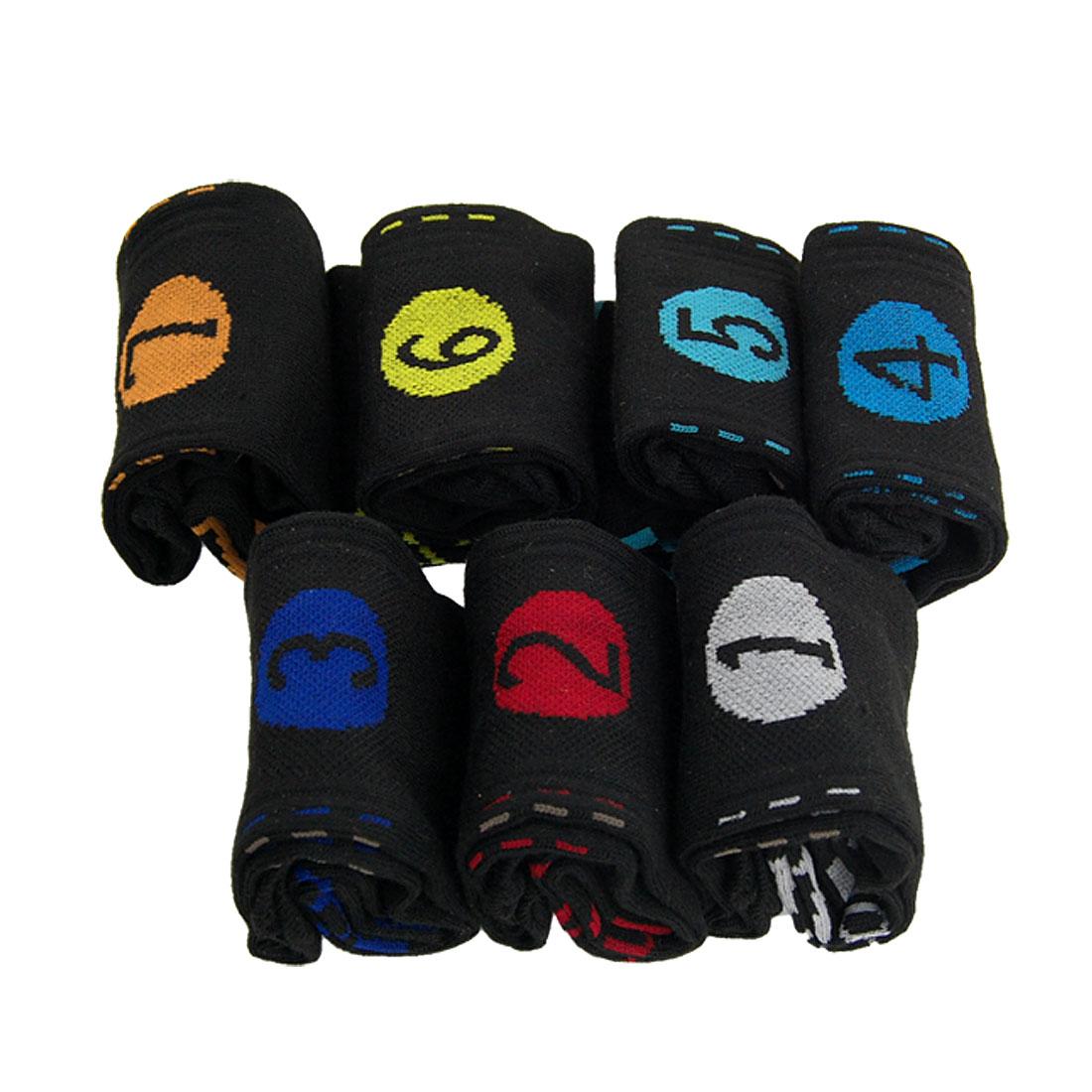 Men 7 Pair Black Ribbing Stretchy Feet Stockings Week Socks