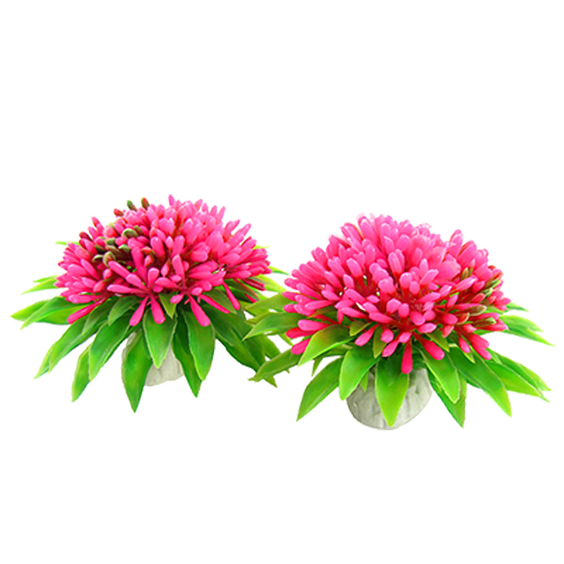 2 Pcs Aquarium Emulational Ceramic Base Plastic Rose Pink Flower Plants