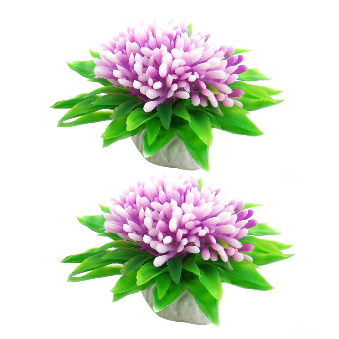2 Pcs Fish Tank Emulational Lavender Flower Plastic Plants w Base