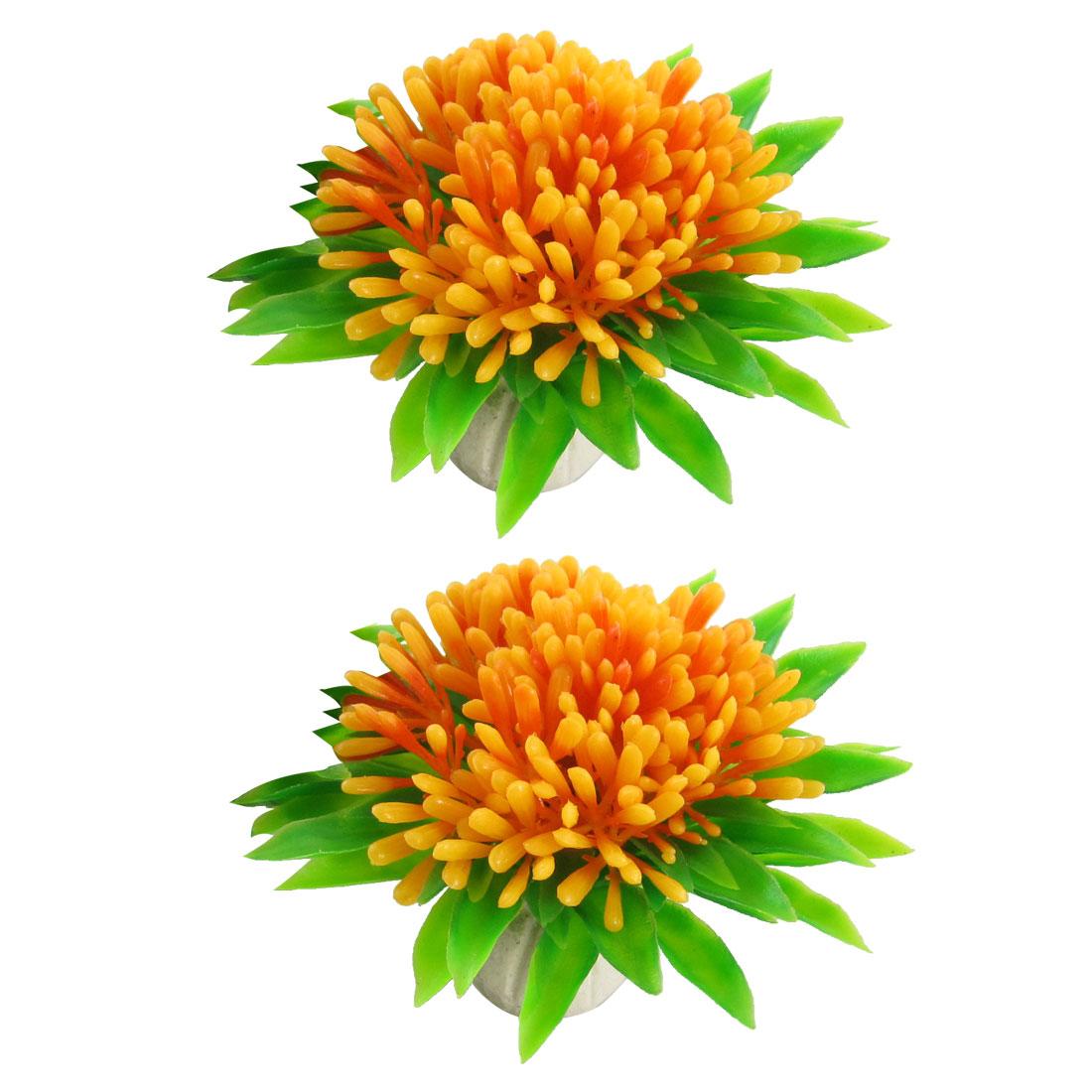 2 Pcs Aquarium Landscaping Ceramic Base Orange Flower Plastic Plants