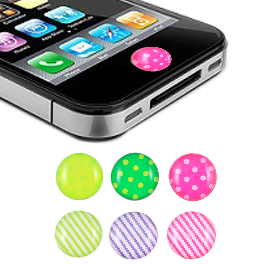 Striped Dotted Home Button Sticker 6 Pcs for iPhone iPad iTouch
