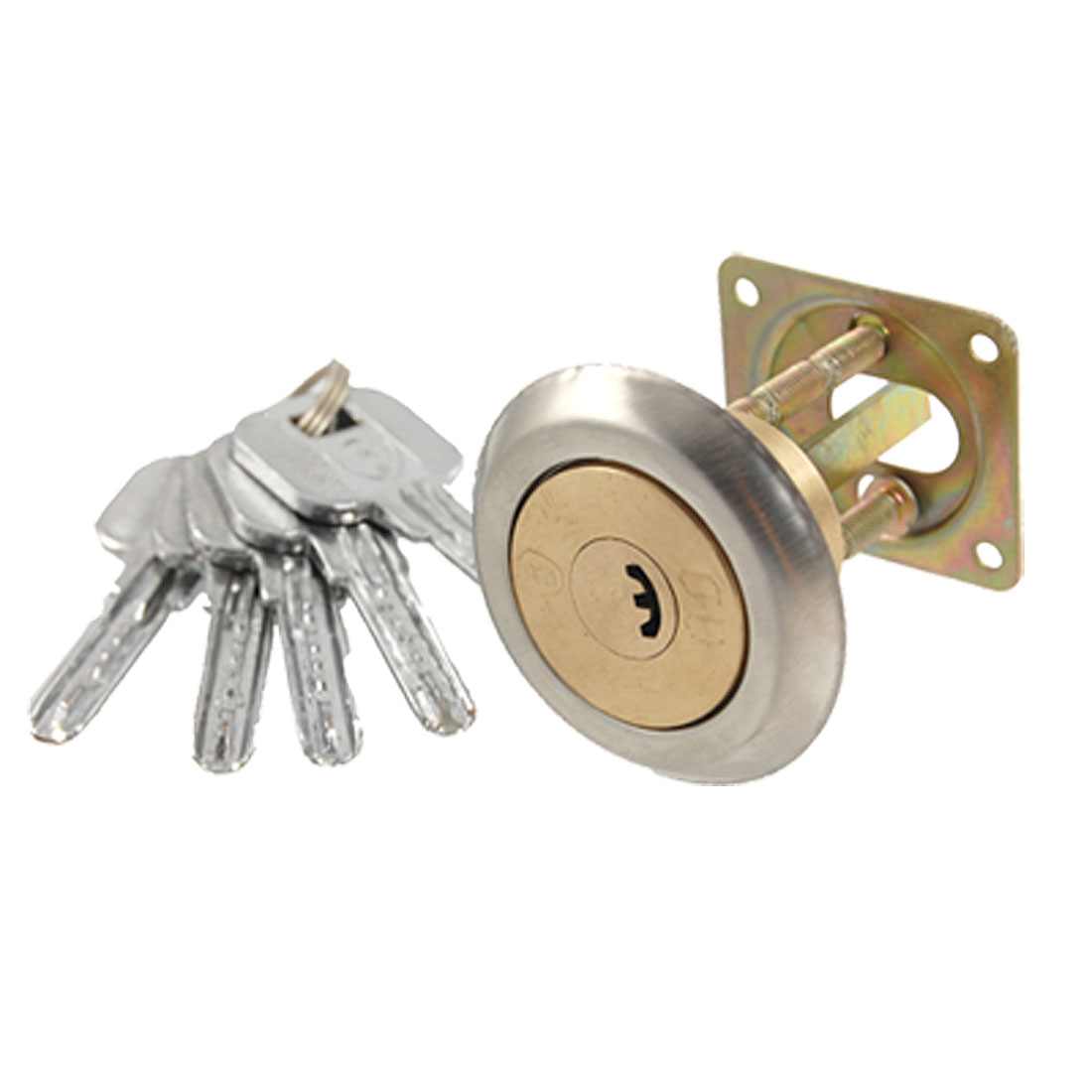 Garage Door Security Brass Tone Tapered Ned Lock w Keys