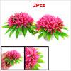2 Pcs Aquarium Emulational Ceramic Base Plastic Rose Pink Flower Plants