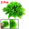 2 Pcs Artifical Ceramic Base Green Plastic Flower Plants for Aquarium