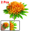 2 Pcs Aquarium Landscaping Ceramic Base Orange Flower Plastic Plants
