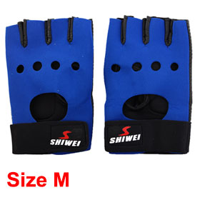 Ladies Men Rubber Palm Fingerless Gloves Support Brace Black Blue