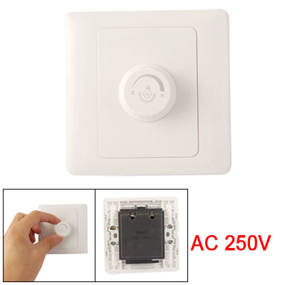 AC 250V Wall Mounting Rotatable Knob 630W Light Dimmer Switch White