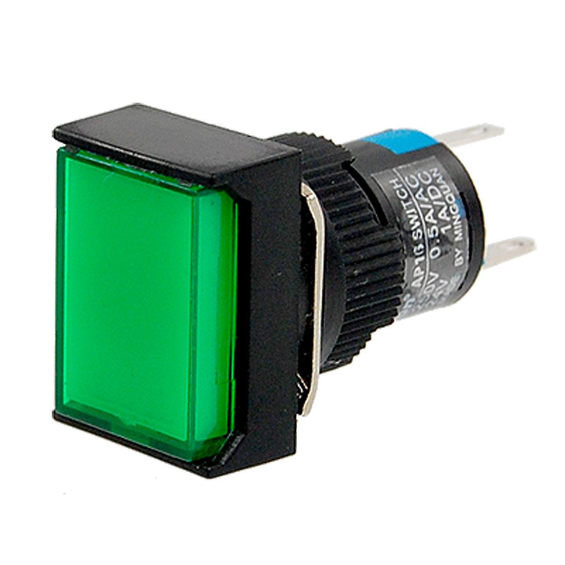 AC 220V Self-locking Type Green Cap Push Button Switch w Lamp